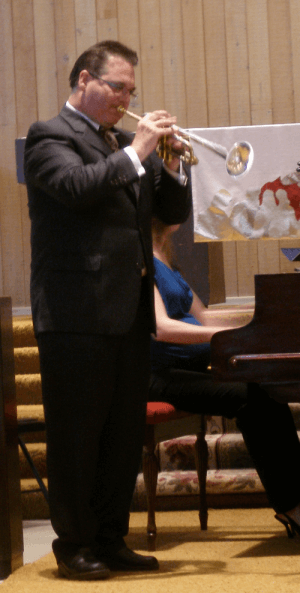 Trumpeter Judson Scott playing at Redeemer