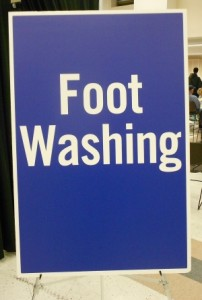 Foot Washing Sign at 2013 Day of Caring Resource Day