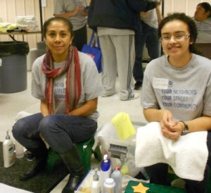 More volunteers at the Day of Caring ready to wash feet