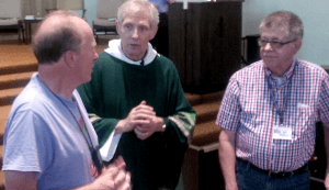 John Pearson, Fr. Steve Garratt, and Bill McGlin