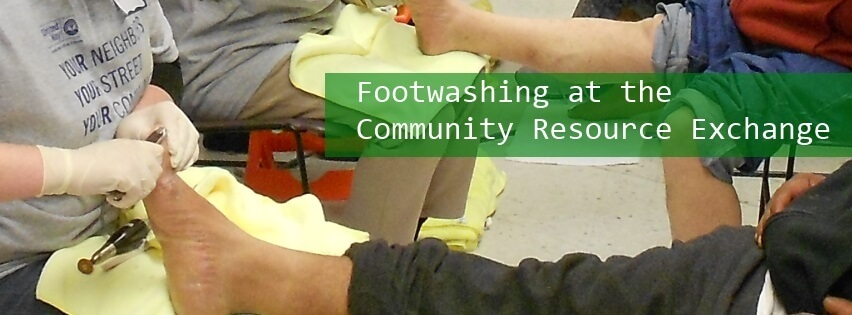 Foot washing at Community Resource Exchange