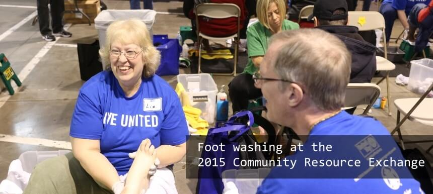 Foot washing at the 2015 Community Resource Exchange