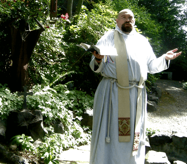 Fr. Jed Fox in the Memorial Garden