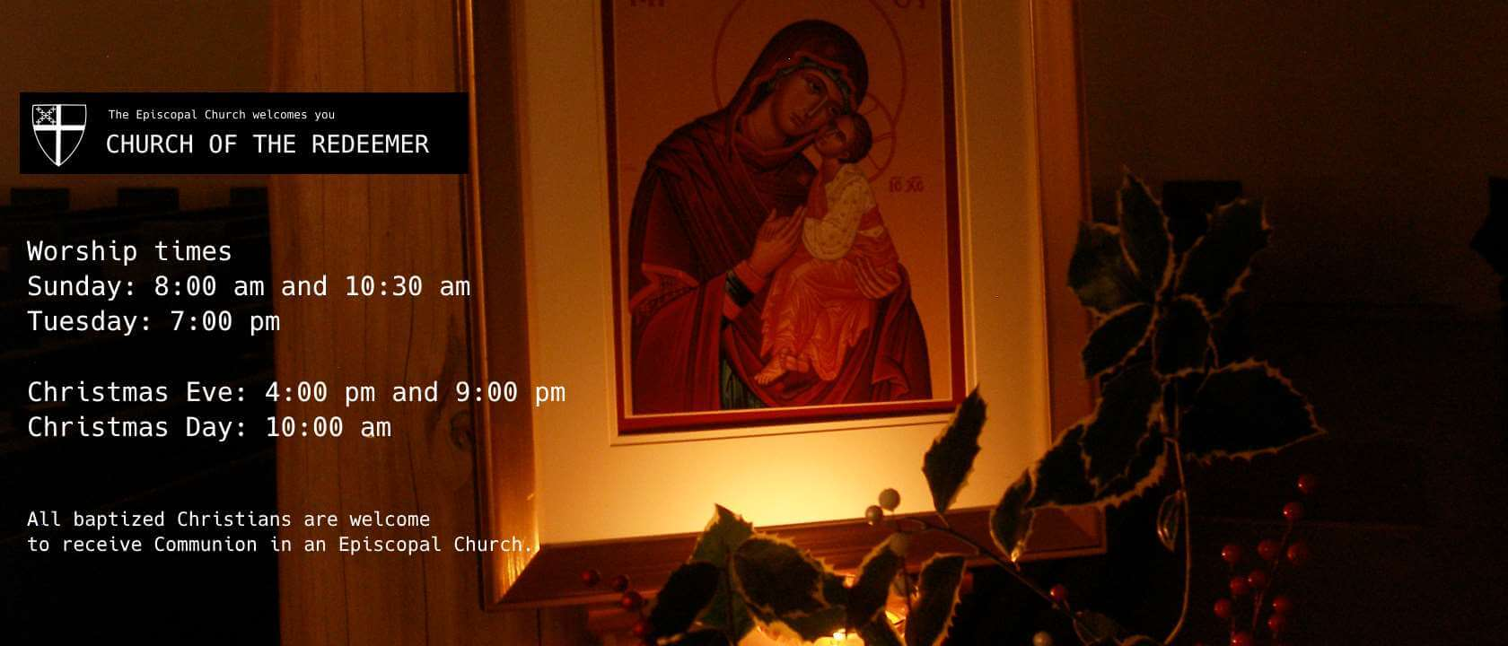 Sunday worship times: 8:00 am and 10:30 am; Tuesday worship time: 7:00 pm