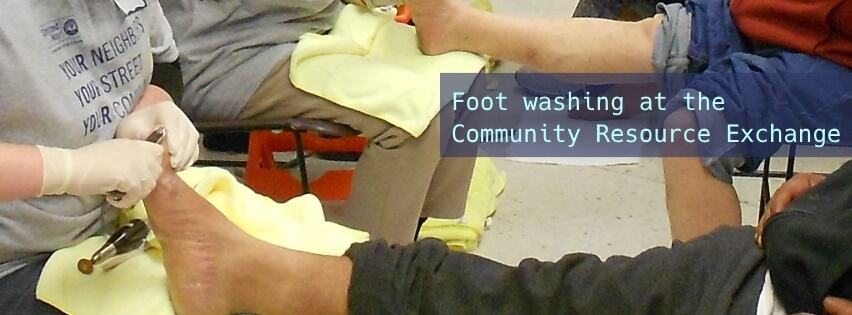 Foot washing at Community Resource Day