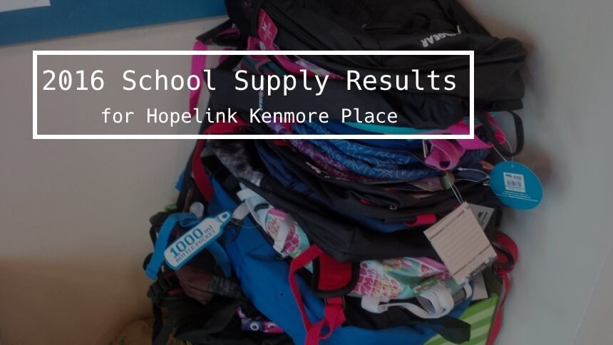 Hopelink Kenmore Place School Supply Drive Results 2016