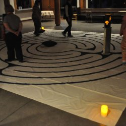 Participants walking the Circle of Peace labyrinth