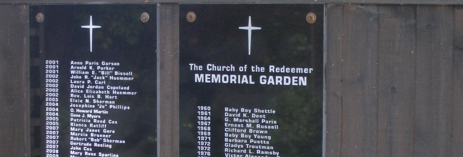 Placques in the Redeemer Memorial Garden listing those whose ashes have been buried here