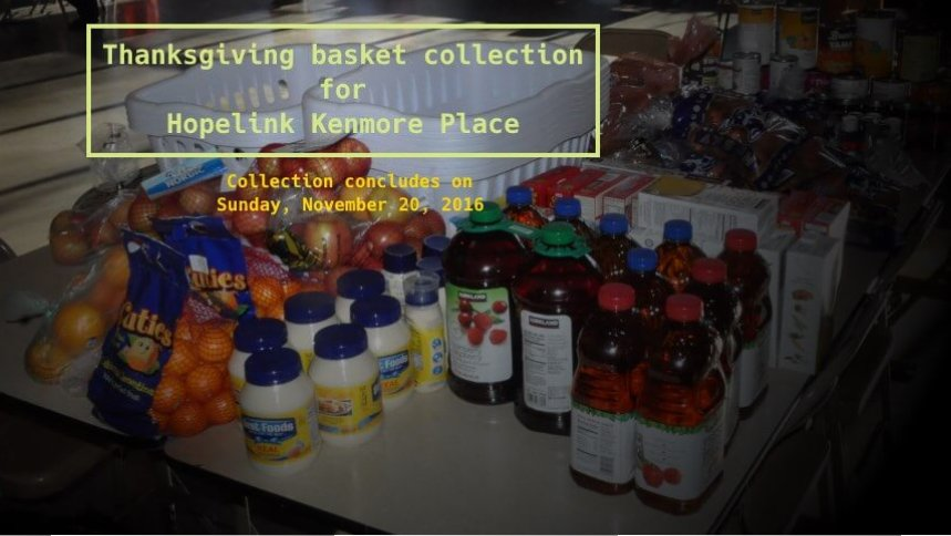 Thanksgiving Basket Collection for Hopelink Kenmore Place