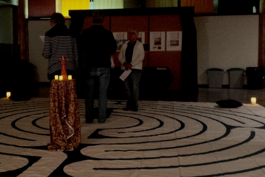 Walkers in the Circle of Peace labyrinth