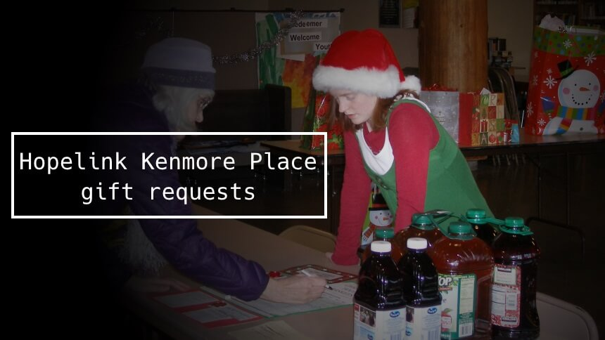 Hopelink Kenmore Place gift requests 2016