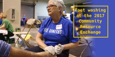 Foot washing at the 2017 Community Resource Exchange