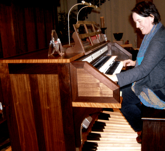 Shiela Bristow at the organ console