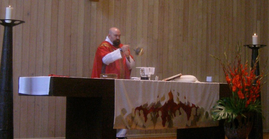 Censing the gifts at the offertory