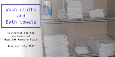 Cloths and towels for Hopelink Kenmore Place