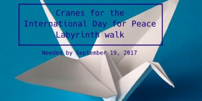 Origami cranes needed for labyrinth walk