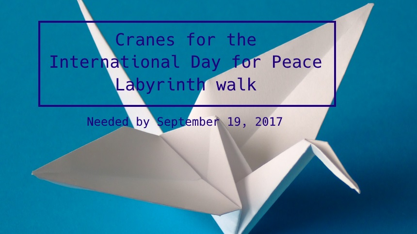 Origami for the International Day of Peace in 2017.