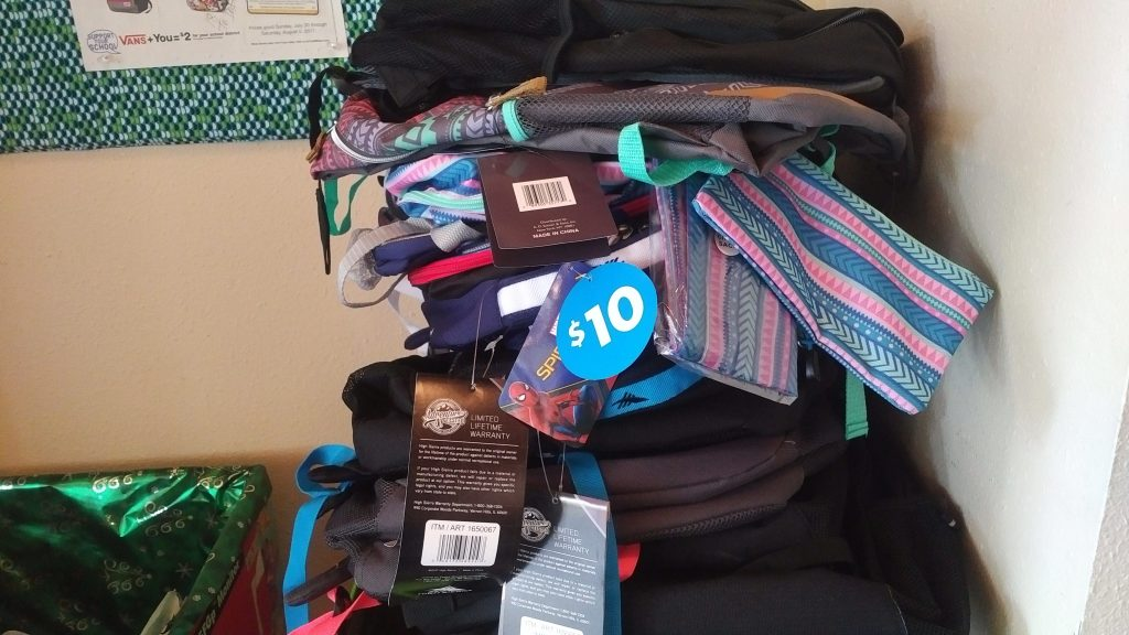Backpacks collected for children at Hopelink Kenmore Place