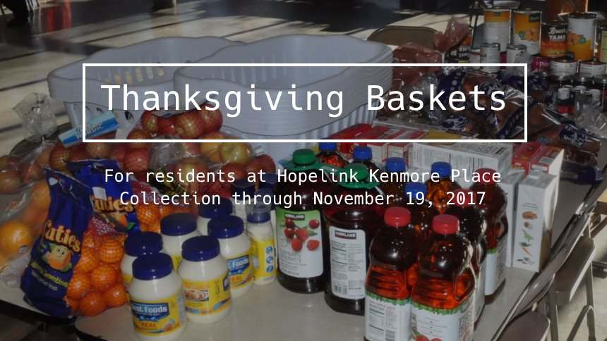 Thanksgiving baskets for Hopelink Kenmore Place in 2017