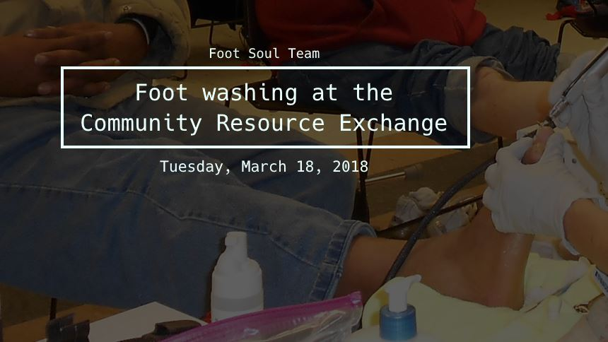 Foot washing a the 2018 Community Resource Exchange